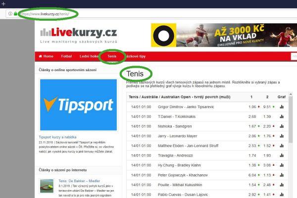 Sekce Tenis na Livekurzy.cz